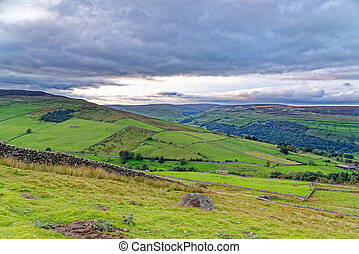 Autumn afternoon view on The Pennine Way, Yorkshire Dales National Park, North Yorkshire, England, United Kingdom