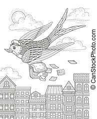 swallow adult coloring page - adult coloring page - swallow ...