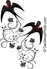 Swallow bird with flowers