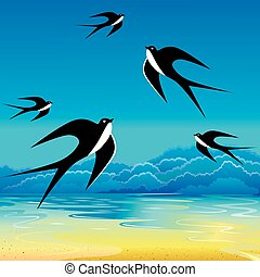 Swallow. - Swallow flying to sky. Vector art-illustration.