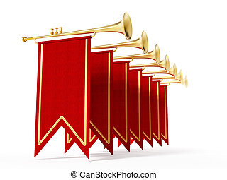 Swallow flags and trumpets isolated on white background. 3D...