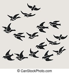 swallow flocks silhouette set