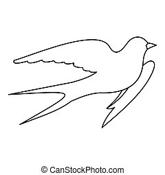 Swallow icon, outline style