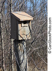 Swallow nest box - Swallow nesting box attached to post at...