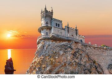 Swallow Nest castle in Crimea, beautiful sunset view
