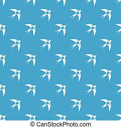 Swallow pattern vector seamless blue