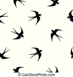 Swallow, swift, birds. Graphic vector pattern. Decorative...
