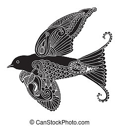 swallow with embroidery decoration on white background