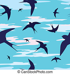 swallows - seamless vector background with swallows and...