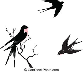 Swallows flying and perching on a branch, vector...