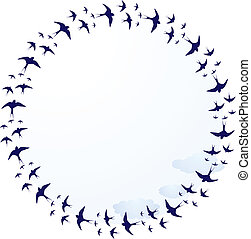 swallows, frame - vector round frame with swallows and...