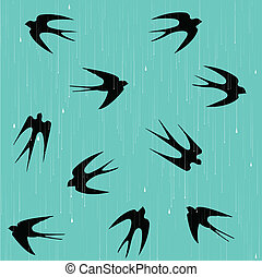Swallows in the rain