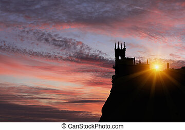 Swallow's Nest castle on the background of a beautiful sunset.