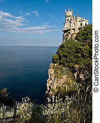 Swallow's Nest Castle Surrounding Sideview Grass Evening