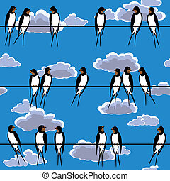 swallows perched on a wire against blue sky seamless
