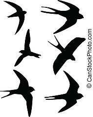 Swallows silhouettes - vector