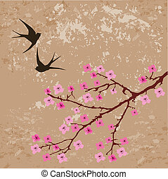 Swallows - Vector swallows on grunge floral background