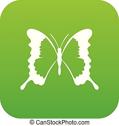 Swallowtail butterfly icon digital green for any design...