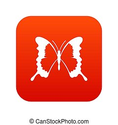 Swallowtail butterfly icon digital red for any design...