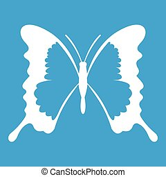 Swallowtail butterfly icon white isolated on blue background...