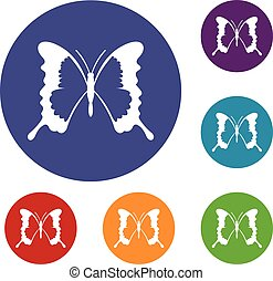 Swallowtail butterfly icons set in flat circle reb, blue and...