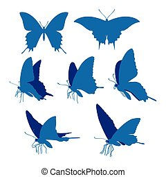 Swallowtail butterfly silhouettes illustration - Realistic...