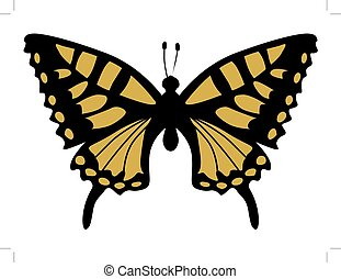 swallowtail - silhouette of swallowtail butterfly