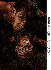 Swamp Creatures - Fantasy character portrait of couple in...