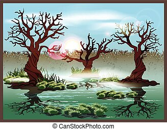 swamp - Stylized vector illustration marshland. Seamless...