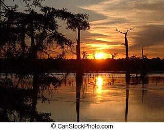 Swamp Sunset - Sunset over Aligator Bayou
