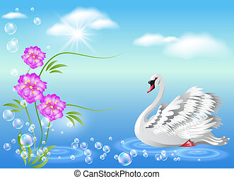 Swan and  flowers  - Elegant white swan and  flowers