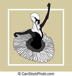 swan ballerina dancing in a skirt. Vector character