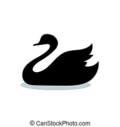 Swan bird black silhouette animal