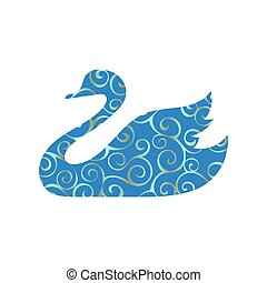 Swan bird color silhouette animal