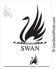 Swan. Black Swan - Stylized Swan silhouette in black