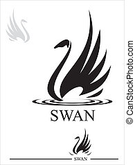 Swan. Black Swan - Stylized Swan silhouette in black