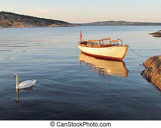 Swan & boat in sunset