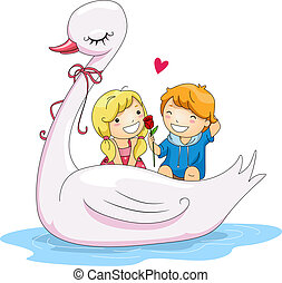 Swan Boat - Illustration of Kids Riding a Swan Boat