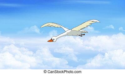 Swan Flies in the Cloudy Sky