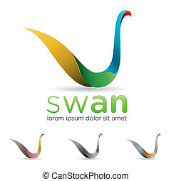 Swan Icon - Elegant and colorful swan icon design with three...