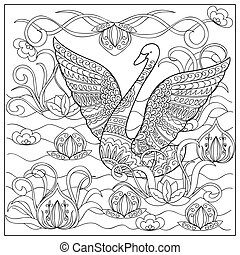 swan in the lake - Hand drawn decorated cartoon swan with...