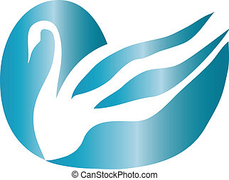 Swan logo - Beautiful swan in blue reflection color vector