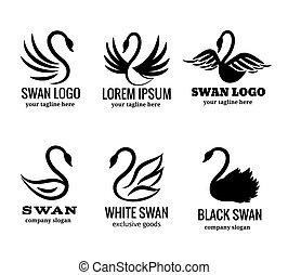 Swan logo set black logotypes vector
