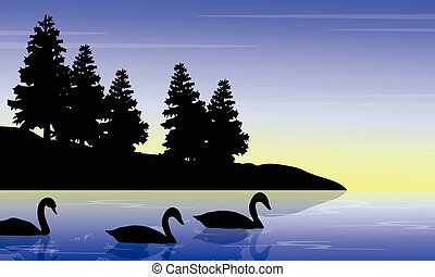 Swan on the lake with tree landscape silhouettes