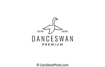 swan or goose fly line modern  logo vector illustration design