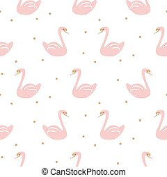 Swan pink cute baby simple seamless vector pattern.