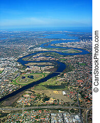Swan River Aerial View - An aerial view of Swan River