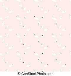Swan seamless pattern on pink background, vector illustration