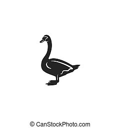 Swan silhouette shape. Vintage hand drawn wild animal icon, symbol isolated on white background. Stock vector illustration of animal