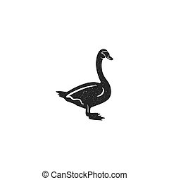 Swan silhouette shape. Vintage hand drawn wild animal icon, symbol isolated on white background. Stock vector illustration of animal. Letterpress effect